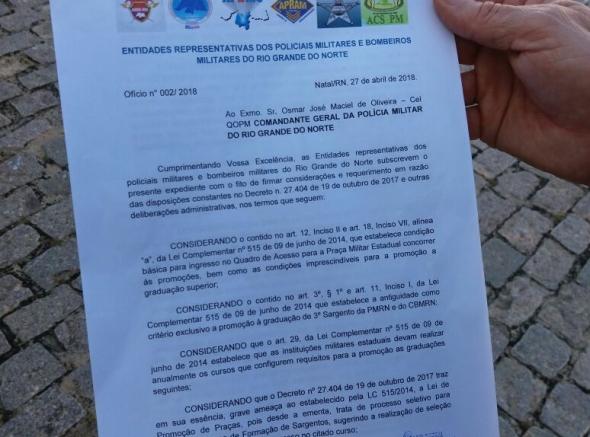 ASSPMBMRN pede revogação de decreto ao Comando Geral da PMRN